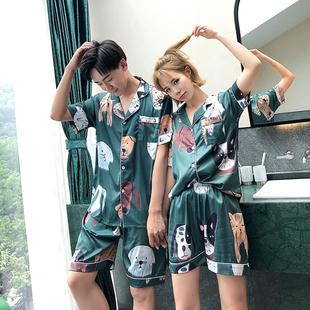 情侣睡衣夏季短袖女两件套装卡通可爱薄款春天家居服男士冰丝