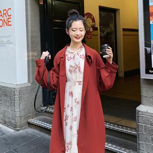 梅子熟了复古港味仙女外套中长款小清新红色风衣过膝2019春装
