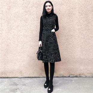 2018秋冬两件套装裙子中长款背带裙打底裙格子毛呢连衣裙
