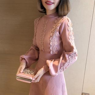 2018秋冬女装半高领灯笼长袖针织打底裙甜美蕾丝边毛衣连衣裙