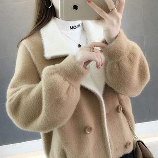 2018短款宽松貂绒开衫女秋冬季女装百搭水貂绒大衣短外套