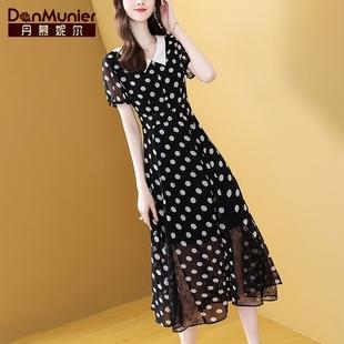丹慕妮尔黑色波点雪纺连衣裙女2021夏季法式复古短袖中长裙