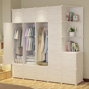 衣柜仿实木简约现代经济型宿舍组装塑料收纳布艺宿舍单人简易衣柜