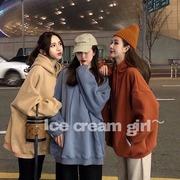 韩国早春简约宽松连帽抽绳中长款蝙蝠袖保暖加绒套头卫衣外套加厚