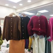 韩国ulzzang2018冬季simida圆领彩色宝石扣保暖貂绒毛衣外套