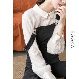 毛毛流苏雪纺衫小衫女秋冬季娃娃领内搭洋气打底衫很仙的上衣