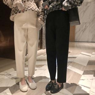 曾小咸 网红奶奶裤女2018黑色针织裤高腰显瘦哈伦直筒裤子