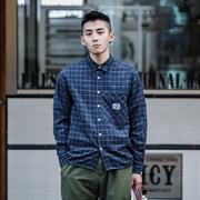 BDCT自制 秋季复古格子衬衫男长袖 日系港风潮牌磨毛格纹衬衣