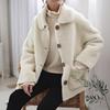 韩国冬季款保暖加厚白色羊羔毛皮毛一体麂皮外套短棉衣宽松棉服女