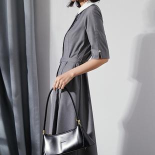 灰色商务女装连衣裙气质通勤正装系带收腰保罗polo领五分袖中长裙
