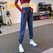 宽松显瘦跑步健身裤薄速干九分裤收口束脚裤子瑜伽高腰运动长裤女
