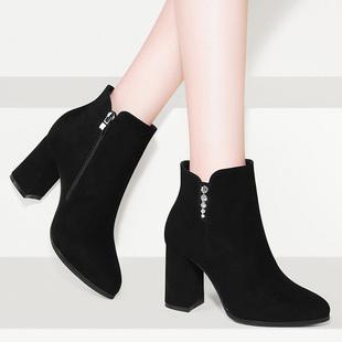 粗跟马丁靴2018瘦瘦靴秋女靴子加绒冬鞋子百搭高跟鞋磨砂短靴
