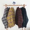 秋冬学院风翻领单排扣撞色格子衬衣学生宽松前短后长衬衫