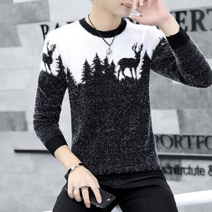 毛衣男士青年针织打底衫线衣外套加绒加厚冬季保暖2018潮