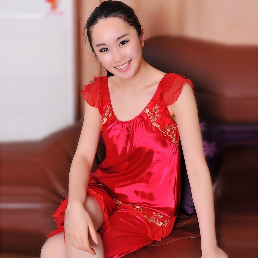红色婚庆睡衣仿真丝绸夏季性感