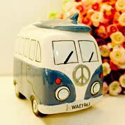 陶瓷储蓄罐 英伦家居复古巴士存钱罐 创意汽车储钱罐