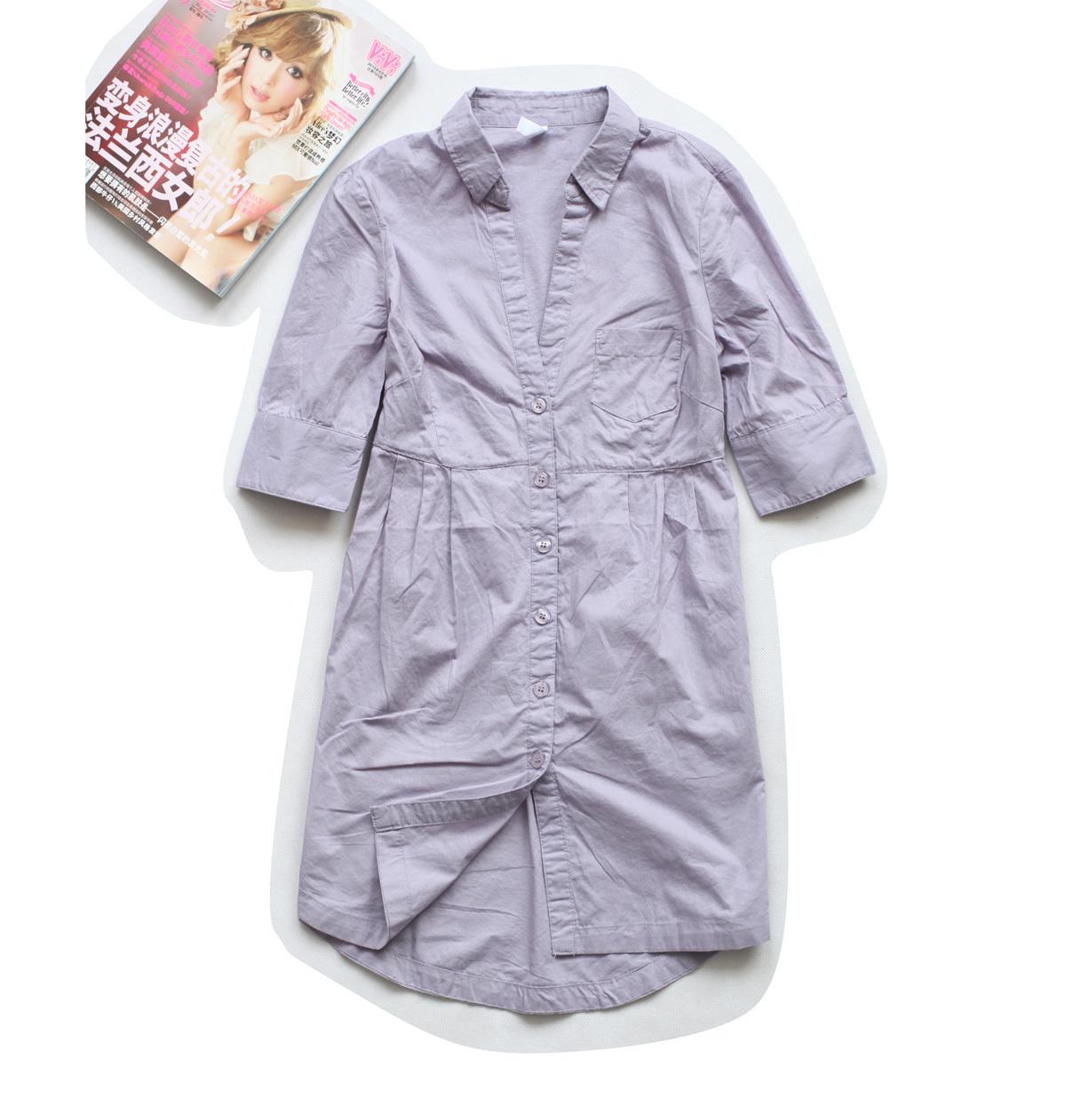 женская рубашка 31-3 Повседневный Короткий рукав Однотонный цвет Воротник-стойка