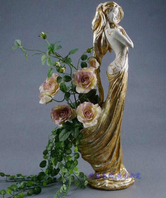 艺术人物美女个性花插花器高档欧式摆件/家居饰品样板房工艺摆设
