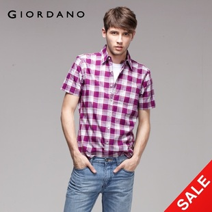Snap up limited edition Giordano men's shirt in  summer light colored Plaid short sleeve shirt 01041012