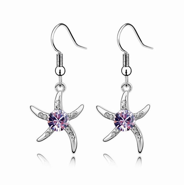 冲5钻特价 可爱紫色海星水晶耳环 耳坠女款韩国进口饰品批发