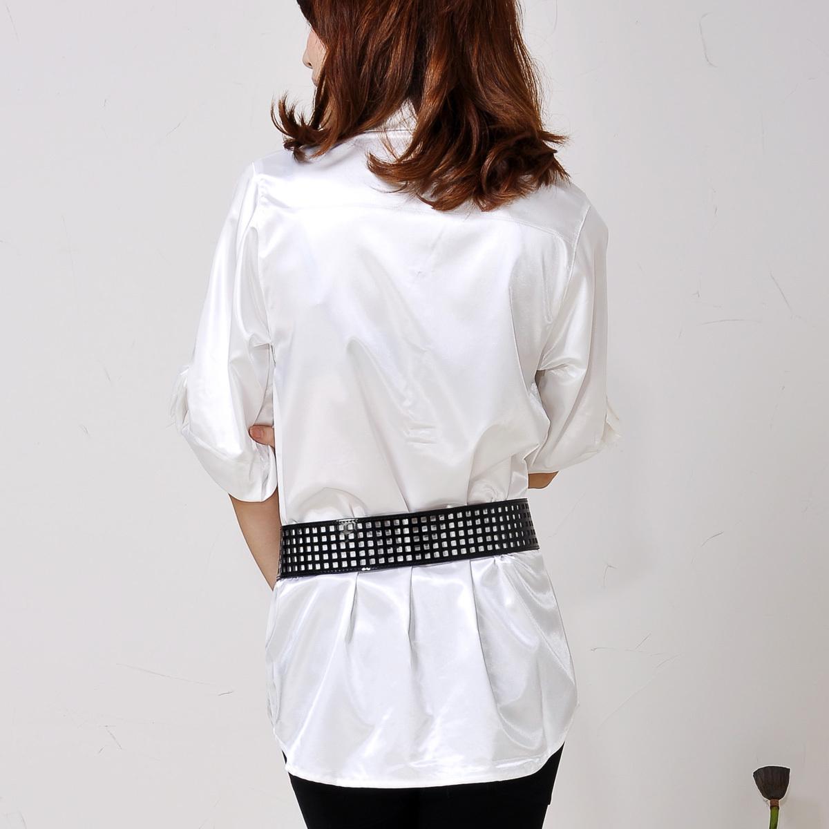 женская рубашка MATCHE mi311181 2012 Городской стиль Однотонный цвет Бантик бабочкой