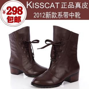2012冬季新款Kiss/接吻猫专柜正品女靴子 系带马丁靴 中筒靴 踝靴
