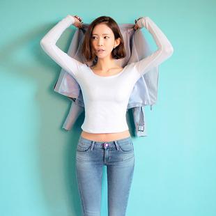 春装大码女装2014长袖t恤女款纯棉打底衫修身t恤女韩版上衣服