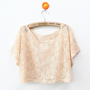 New spring clothing 2011 Korean lace pierced Super Delta short bat sleeve knitted shirt blouse with short sleeves WT1080