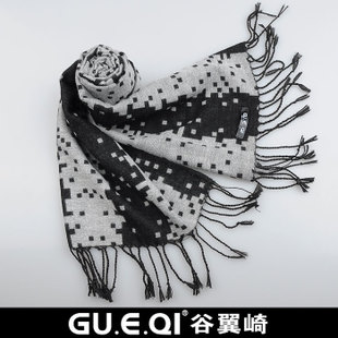 GUEQI 2012 new British fashion joker elegant black ash grid copy wool scarf W49 man