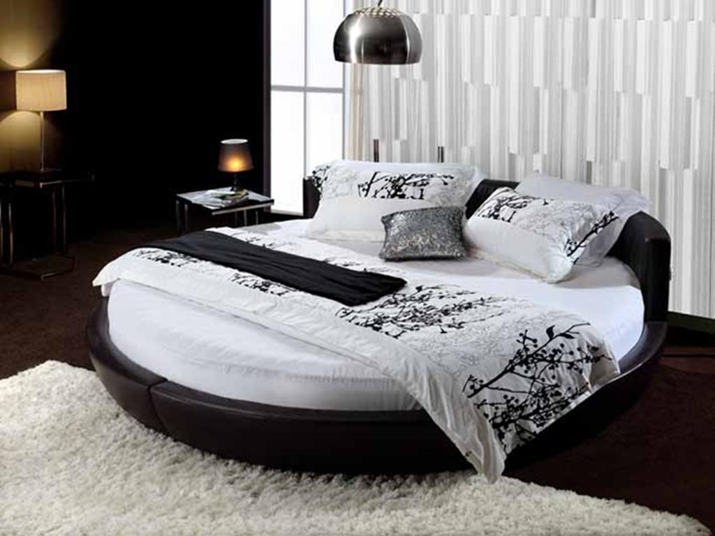 кожаная кровать Простые новые круглая кровать кровать, мягкая кровать моды круглые мягкая кровать двуспальная кровать k356p