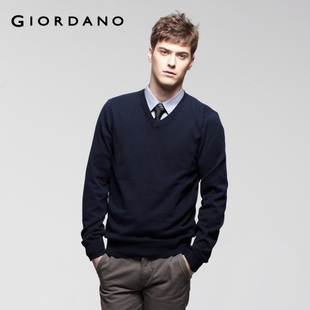2012 Giordano v-neck knit shirt men's simple cotton knitwear 01050520
