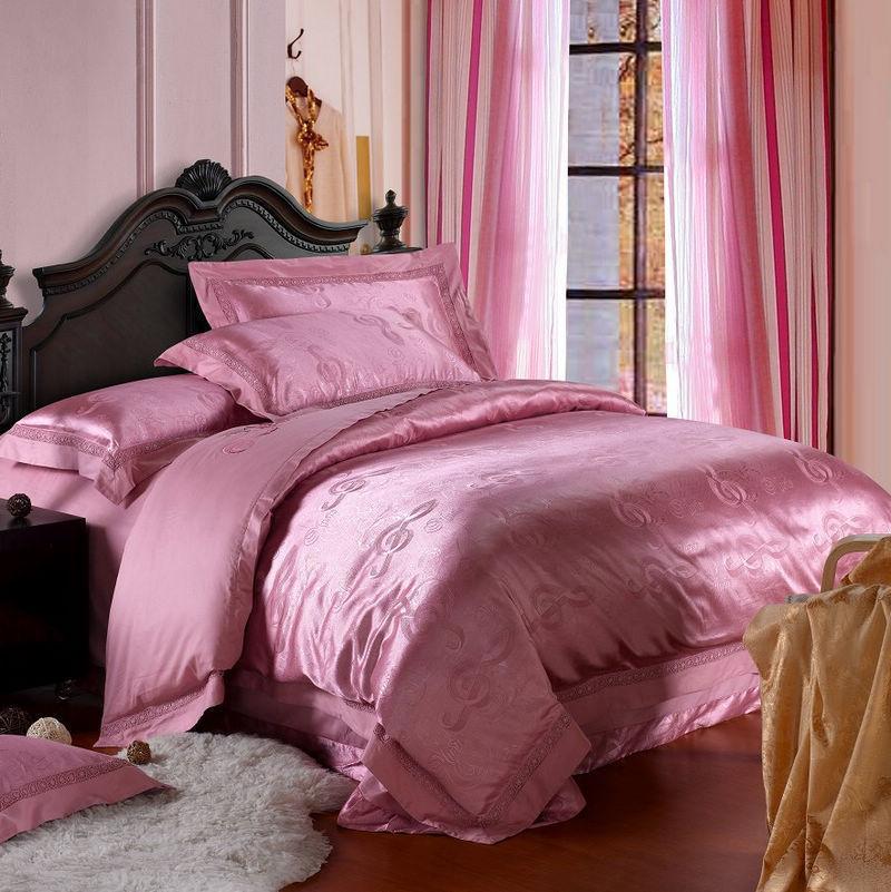 罗莱家纺 贡缎提花绣花全棉床上用品四件套 婚庆床品 被套 套件