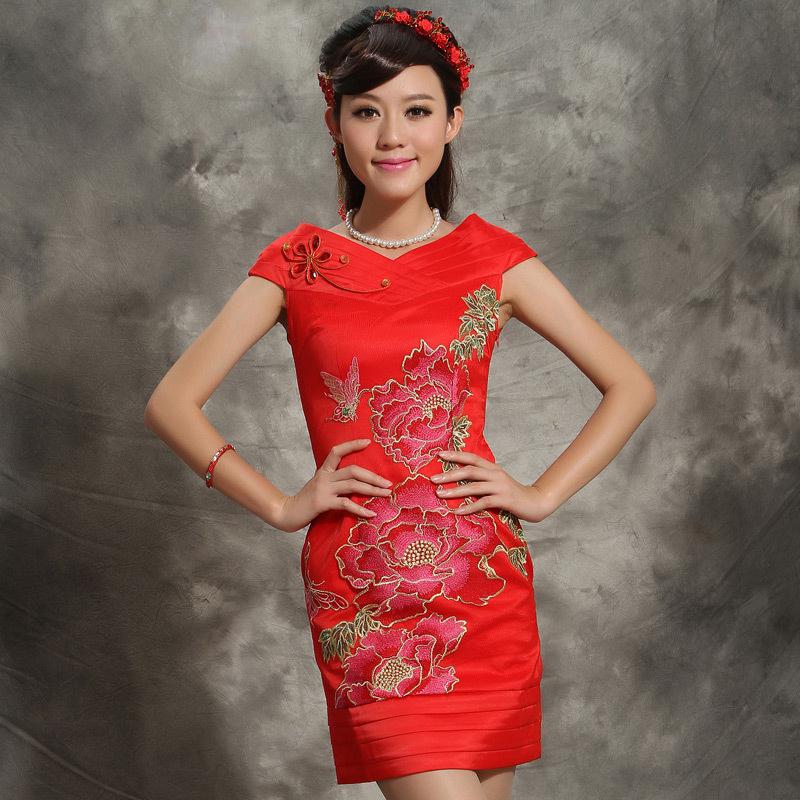 夏装新款 中式婚礼红色新娘装 新娘结婚小礼服敬酒服连衣裙刺绣