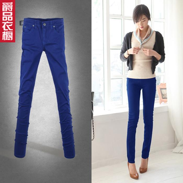 新款蓝色小脚铅笔学生牛仔裤弹力棉牛子裤女士