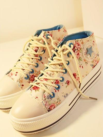 日韩系田园碎花休闲系带单鞋休闲鞋甜美学院花朵厚底休闲帆布鞋