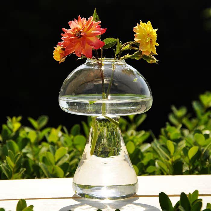 创意蘑菇式台面花瓶透明玻璃田园风水培花瓶家居装饰摆件