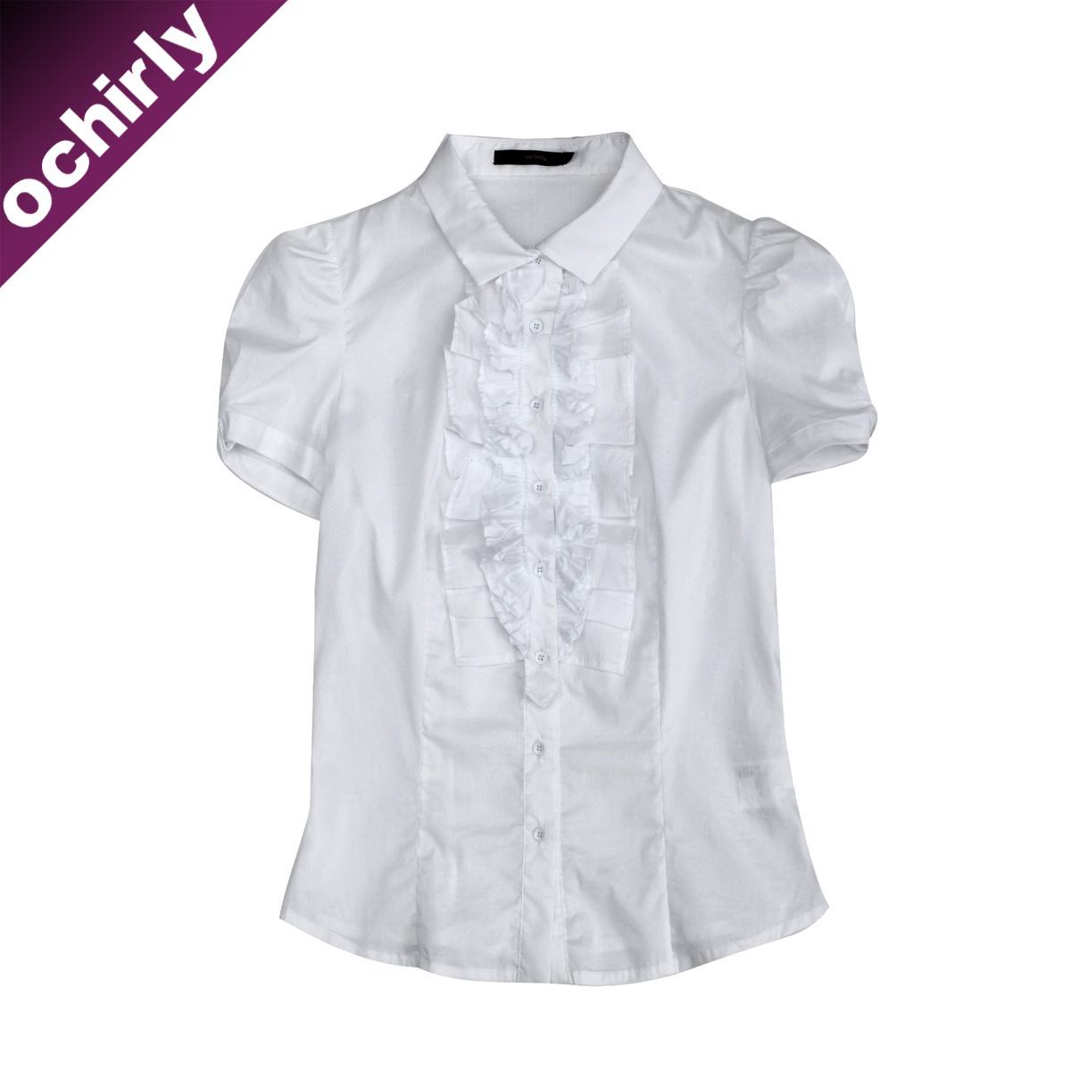 женская рубашка Ochirly 1103010920000 Повседневный Короткий рукав Однотонный цвет Оборка