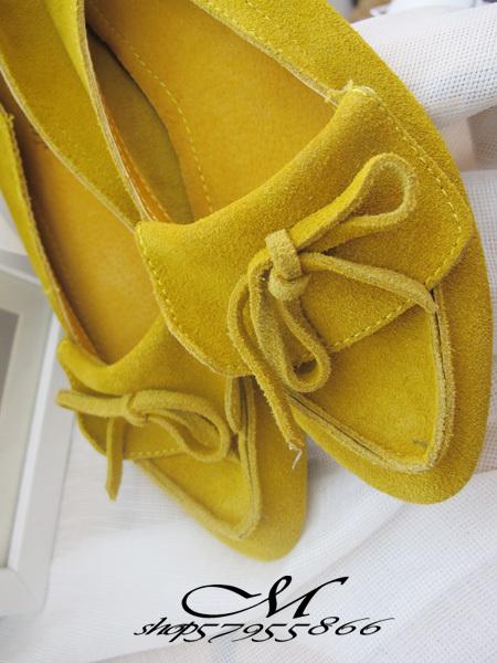 MARYC`2011新品 反毛皮平跟流苏平底单鞋 黄色