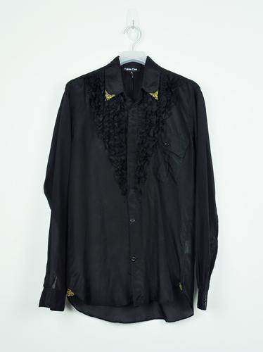 женская рубашка 3.1 Phillip Lim Городской стиль Длинный рукав Однотонный цвет Осень 2012 С бисером, Смешанные ткани Отложной воротник Один ряд пуговиц