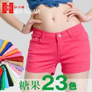 2014女装夏装大码显瘦弹力小脚牛仔裤糖果色彩色铅笔裤子