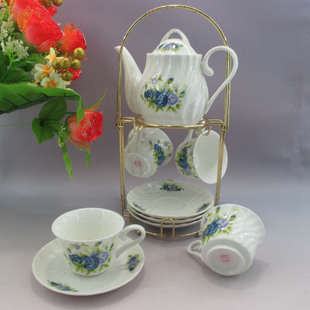 Jingdezhen high-end 10-piece bone China coffee set-blue roses shelves gifts to share