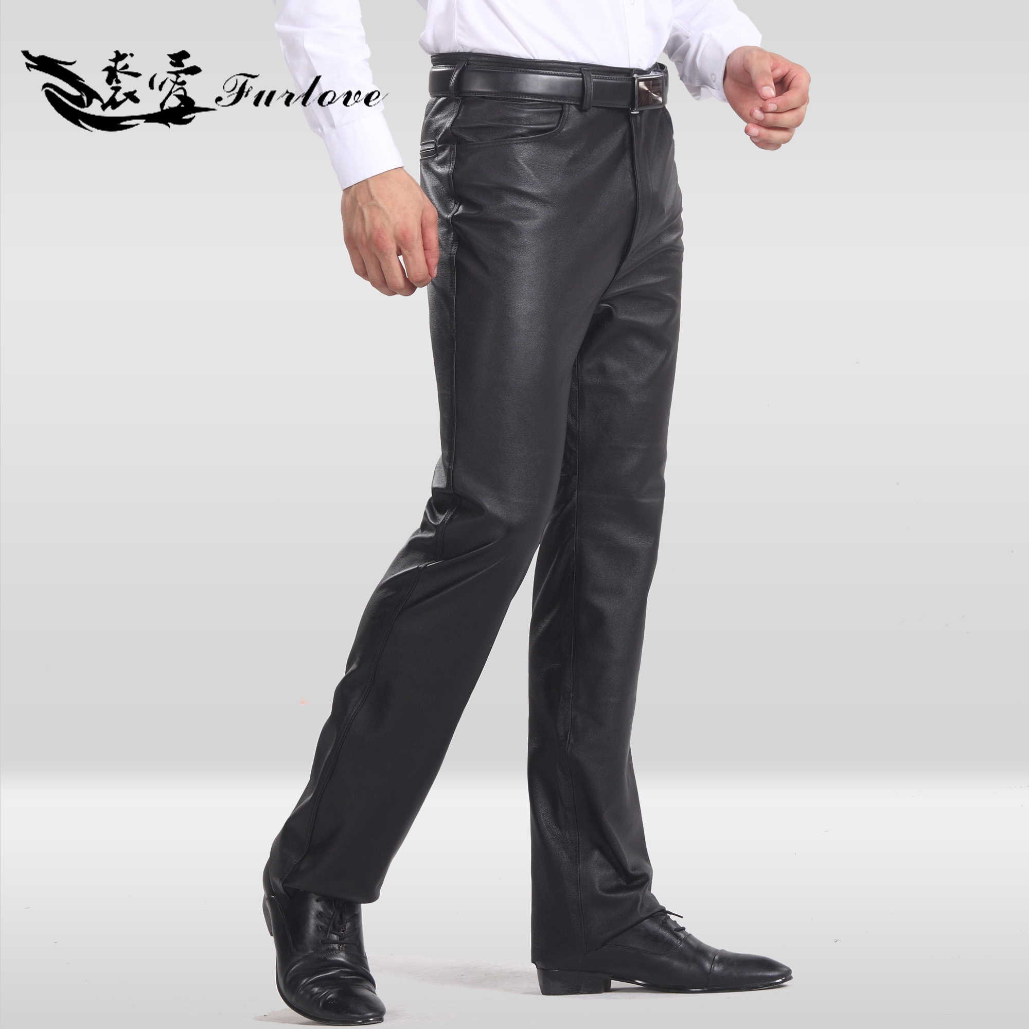 Furlove special offer autumn/winter men's trousers straight leather pants motorcycle biker leather and cotton plus size trousers