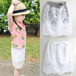 韩国童装女童2014夏装 甜美蕾丝绣花舒适百搭儿童半身裙裤