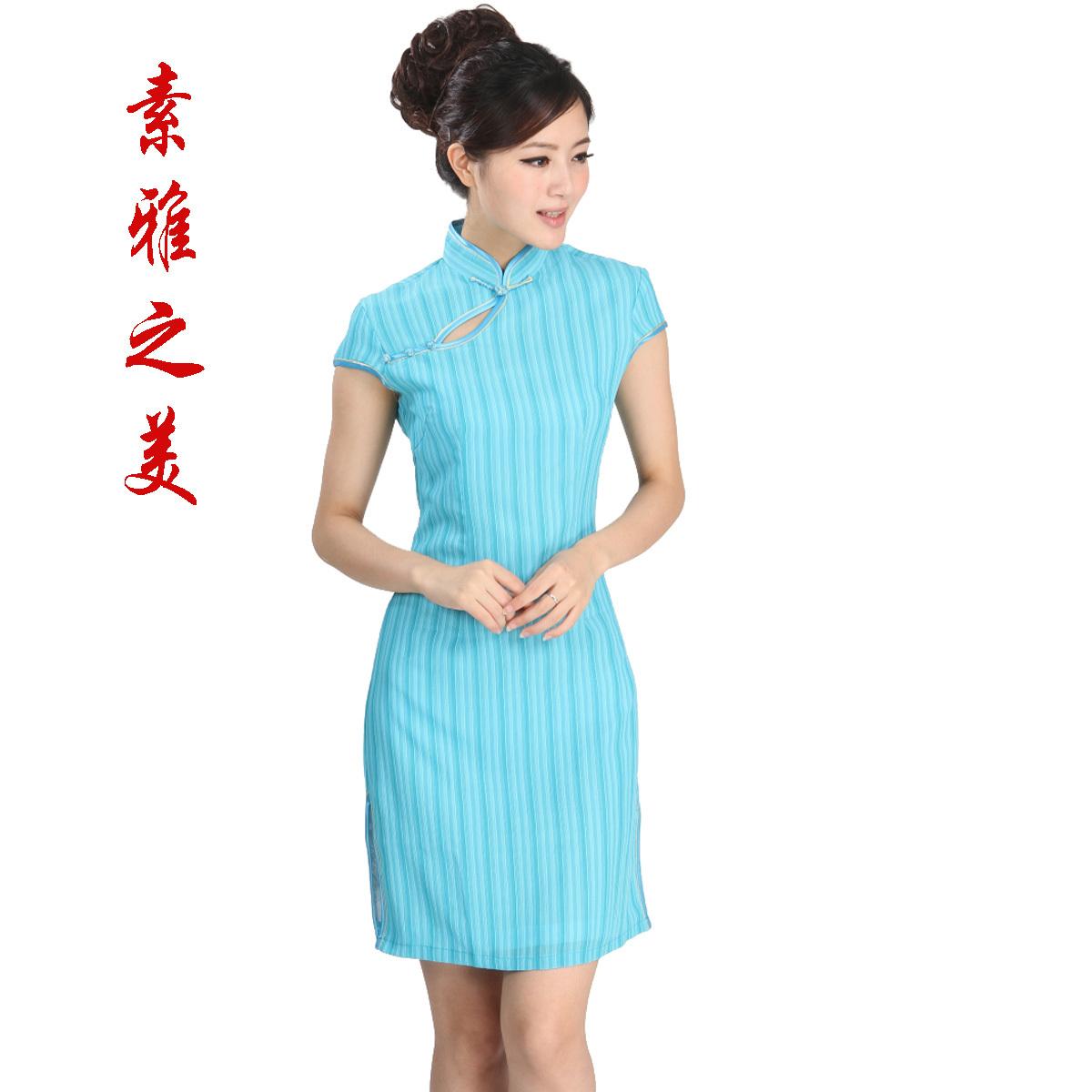 Платье Ципао Импортированные шелковой пряжи ткани и подкладочные снег cheongsam платье полосой классической элегантности моды
