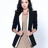2014秋季女装中长款小西装外套立领撞色韩国小西服女