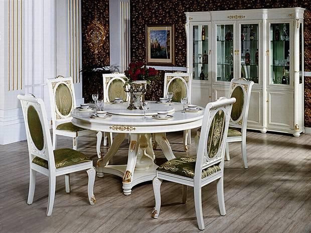 стол со стульями Главная Пикассо нео классической европейской серии gelaideng GLD-gp06 четырех дверный винный кабинет/круглый обеденный стол