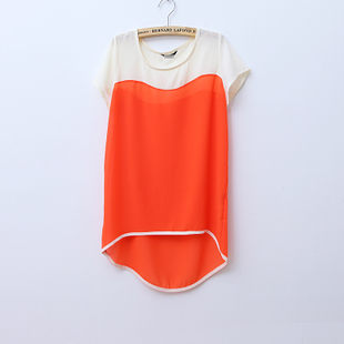 2012 Summer new Korean characters to spell color irregular hem round neck short sleeve loose chiffon shirt WC1148