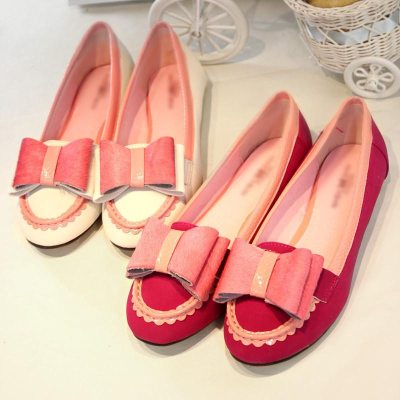 туфли TE-Шань в Корее! Cucci. очень милый розовый конь заколка квартиры Балетки плоская обувь женская обувь Плоская подошва Мягкая кожа Искусственная кожа