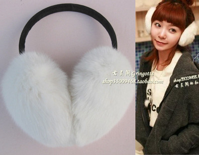 Korean version of the white rabbit fur earmuffs earmuffs ear ear ear package cover child warm winter cute male and female can be adjusted