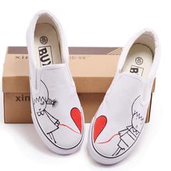 清目手绘鞋涂鸦帆布低帮无带女士套口鞋子可情侣鞋